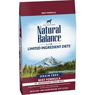 Natural Balance L.I.D. Limited Ingredient Diets Beef Formula High Protein Grain-Free Dry Dog Food, 12-lb bag