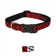Sassy Dog Wear Houndstooth Dog Collar, Medium, Poppy & Black