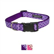 Sassy Dog Wear Polka Dot Dog Collar, Orchid & Navy, Medium