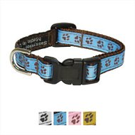 Sassy Dog Wear Puppy Paws Dog Collar, Blue & Brown, Small