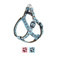 Sassy Dog Wear Puppy Paws Dog Harness, Blue & Brown, Small
