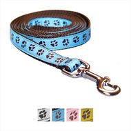 Sassy Dog Wear Puppy Paws Dog Leash, Blue & Brown, X-Small