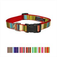 Sassy Dog Wear Multi Stripe Dog Collar, Medium, Red