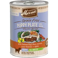 Merrick Grain-Free Puppy Plate Beef Recipe Canned Dog Food, 13.2-oz, case of 12