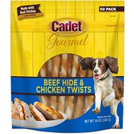Cadet Gourmet Rawhide & Chicken Twist Dog Treats, 50 count