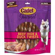 Cadet Gourmet Rawhide & Duck Twist Dog Treats, 50 count