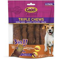 Cadet Pork Hide, Sweet Potato & Duck Triple 3 Chew Dog Treats, 6 count