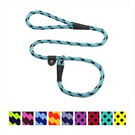 Mendota Products Large Slip Checkered Dog Lead, Black Ice Turquoise, 6-ft