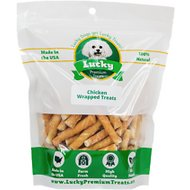 Lucky Premium Treats Extra Small Chicken Wrapped Rawhide Dog Treats, 50 count