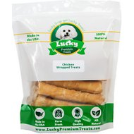 Lucky Premium Treats Medium Chicken Wrapped Rawhide Dog Treats, 12 count