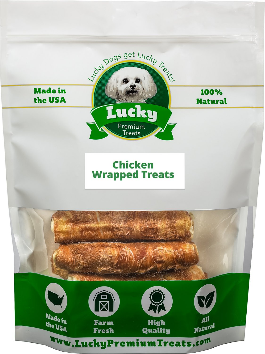 lucky premium treats stubby chicken wrapped rawhide dog treats 10 count. Black Bedroom Furniture Sets. Home Design Ideas