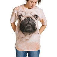 The Mountain Big Face Pug Unisex Adult Short Sleeve T-Shirt, Tan, Large
