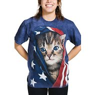 The Mountain Patriotic Kitten Unisex Adult Short Sleeve T-Shirt, Blue, Small