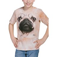 The Mountain Big Face Pug Kids Short Sleeve T-Shirt, Tan, Small