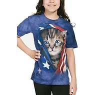 The Mountain Patriotic Kitten Kids Short Sleeve T-Shirt, Blue, Small