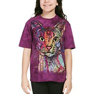The Mountain Big Face Abyssinian Kids Short Sleeve T-Shirt, Purple, Small