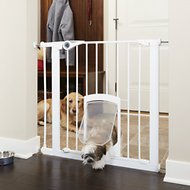 MyPet Petgate Passage Gate with Small Pet Door, White, 30-in