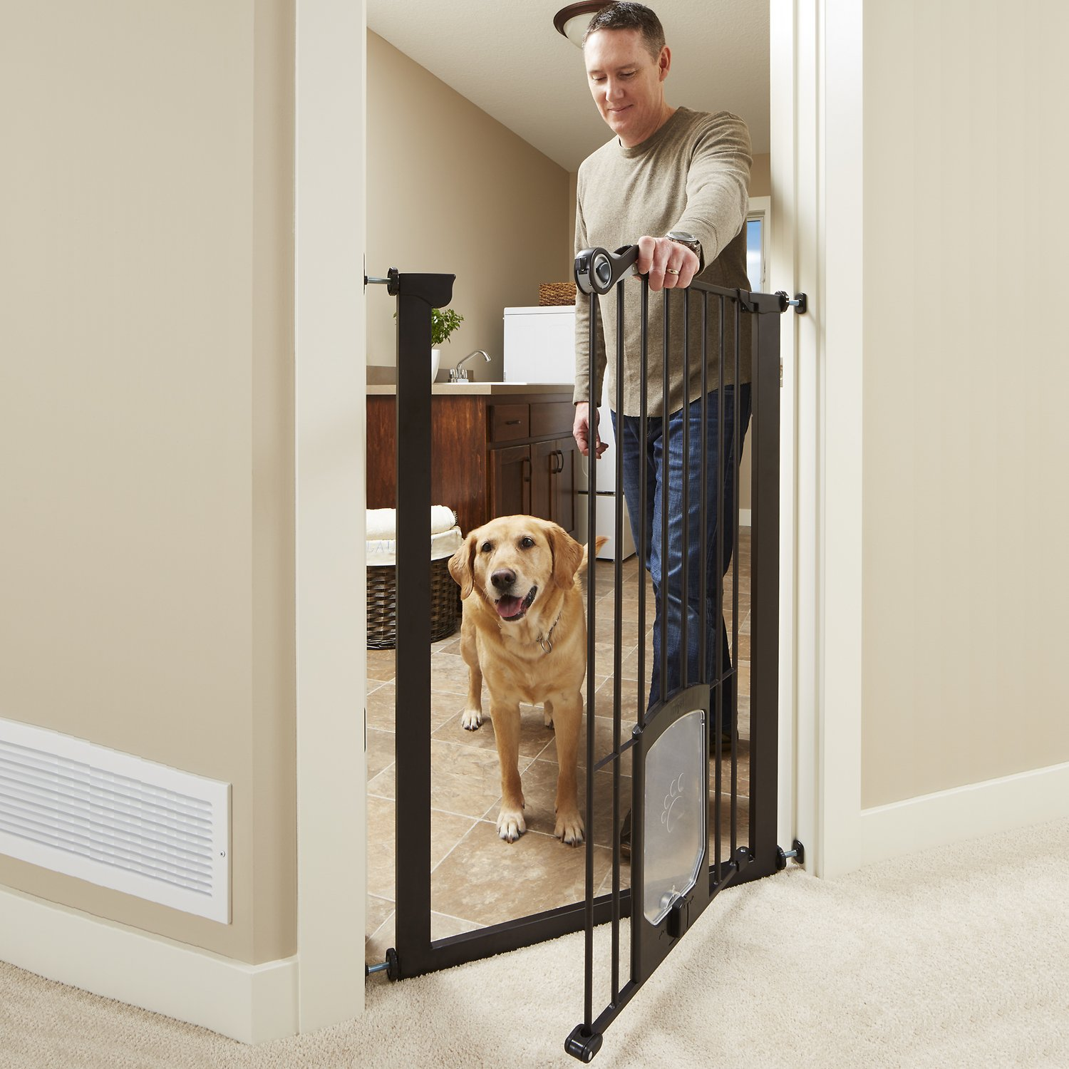 Mypet Extra Tall Petgate Passage Gate With Small Pet Door Bronze