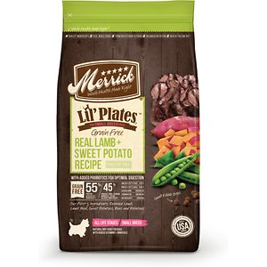 Merrick Lil\\\' Plates Grain Free Small Breed Dry Dog Food Real Lamb + Sweet Potato Recipe, 12-lb bag; Stuff your little ball of fluff with Merrick Lil\\\' Plates Grain Free Small Breed Dry Dog Food Real Lamb + Sweet Potato Recipe. This delicious dry food for small dogs features real deboned lamb as the very first ingredient. It's formulated with prebiotics and probiotics for digestion and formed into a small kibble size with a crunchy texture to help reduce plaque and keep teeth clean. This grain and gluten-free dry dog food is developed with high levels of omega fatty acids to help promote healthy skin and a shiny coat while glucosamine and chondroitin support hip and joint function. It's paw-fect for helping small breeds of dogs in any stage of life build healthy muscles and maintain a high level of energy throughout the day.