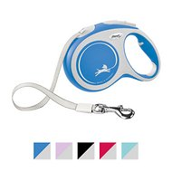 Flexi New Comfort Retractable Tape Dog Leash, Blue, Large, 16-ft
