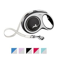 Flexi New Comfort Retractable Tape Dog Leash, Grey, Large, 16-ft