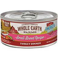Whole Earth Farms Small Breed Recipe Turkey Dinner Grain-Free Canned Dog Food, 3.2-oz, case of 24
