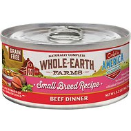 Whole Earth Farms Small Breed Recipe Beef Dinner Grain-Free Canned Dog Food, 3.2-oz, case of 24
