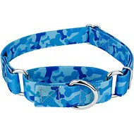 Country Brook Design Bone Camo Martingale Dog Collar, Small, Blue