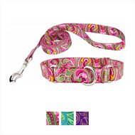 Country Brook Design Paisley Martingale Dog Collar and Leash, Small, Pink