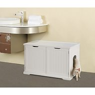 Merry Products Cat Washroom Bench Decorative Litter Box Cover & Storage, White