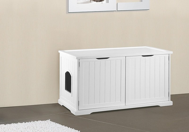 Merry Products Cat Washroom Bench Decorative Litter Box Cover Storage White