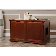 Merry Products Cat Washroom Bench Decorative Litter Box Cover & Storage, Walnut