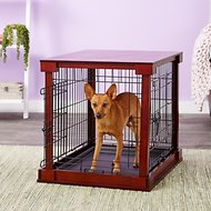 Merry Products Wooden Decorative Dog & Cat Crate, Mahogany, Small