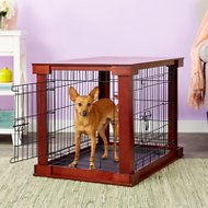 Merry Products Wooden Decorative Dog & Cat Crate, Mahogany, Medium
