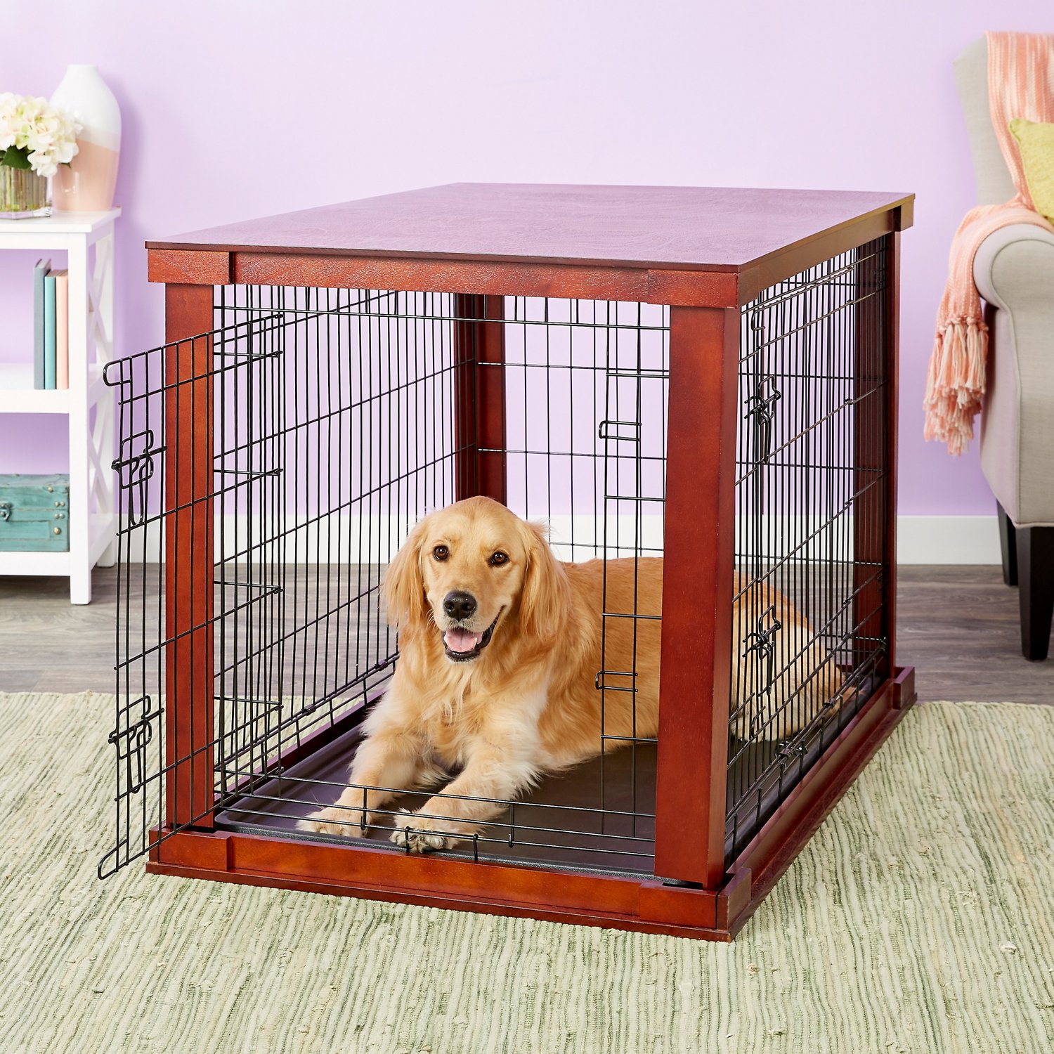 Merry Products Wooden Decorative Dog Amp Cat Crate Mahogany