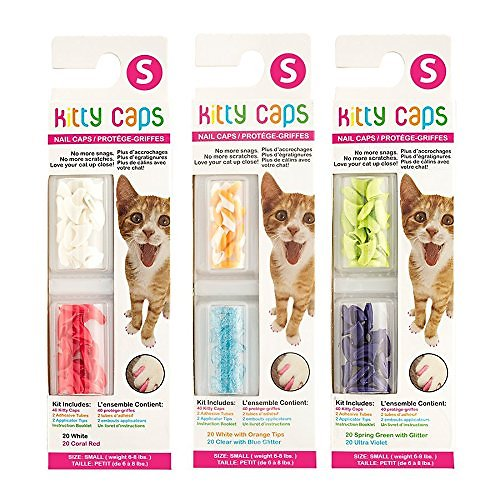 FOR KITTENS TOO — Kitty Caps nail caps are great for cats and kittens. Brostown Pcs Cat Nail Caps Claws Soft Paws 5 Colors Adhesive Glues Applicators Instructions (M) YMCCOOL pcs Cat Nail Caps Pet Cat Kitty Soft Claws Covers Control Paws of 7 Shinning Glitter Crystal Colors Nails Caps and 7Pcs Adhesive Glue 7 Applicator with.