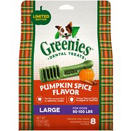 Greenies Pumpkin Spice Flavor Dental Dog Treats, Large, 8 count