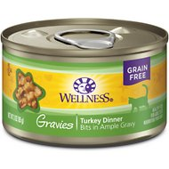 Wellness Natural Grain Free Gravies Turkey Dinner Canned Cat Food, 3-oz, case of 12