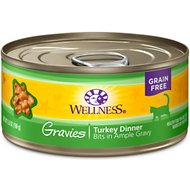 Wellness Natural Grain Free Gravies Turkey Dinner Canned Cat Food, 5.5-oz, case of 12