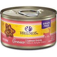 Wellness Natural Grain Free Gravies Salmon Dinner Canned Cat Food, 3.3-oz, case of 12