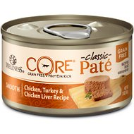 Wellness CORE Natural Grain Free Chicken Turkey & Chicken Liver Pate Canned Cat Food, 3-oz, case of 12