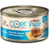 Wellness CORE Natural Grain Free Whitefish Salmon & Herring Pate Canned Cat Food, 3-oz, case of 12