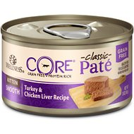 Wellness CORE Natural Grain Free Turkey & Chicken Liver Pate Canned Kitten Food, 3-oz, case of 12