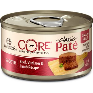 Wellness CORE Grain-Free Beef, Venison & Lamb Formula Canned Cat Food, 3-oz, case of 12; Wellness CORE Natural Grain Free Beef Venison & Lamb Canned Cat Food offers a high-protein diet to give your cat the energy she needs to thrive. This grain and fish-free recipe includes wholesome, carefully selected ingredients for optimum health benefits with berries and botanicals to round out the diet. Each recipe is made in North America and doesn't include any carrageenan, artificial colors, flavors or preservatives—just wholesome ingredients for a nutritious meal.