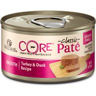 Wellness CORE Natural Grain Free Turkey & Duck Pate Canned Cat Food, 3-oz, case of 12