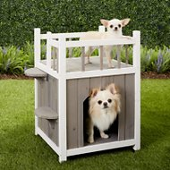 Trixie Outdoor Wooden Pet Home with Balcony, Gray/White