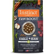 Nature's Variety Instinct Raw Boost Grain-Free Venison & Lamb Meal Formula Dry Dog Food, 20-lb bag