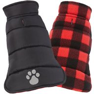 Frisco Reversible Puffer Dog Coat, X-Small, Black/Red Plaid