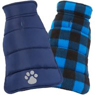 Frisco Reversible Puffer Dog Coat, X-Small, Dark Blue/Plaid