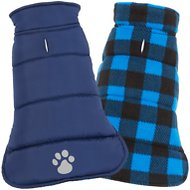 Frisco Reversible Puffer Dog Coat, Small, Dark Blue/Plaid